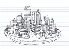 Hand drawn City Sketch for your design,Drawn. In black ink on white background Stock Photography