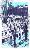 Hand drawn City Sketch for your design. Over view artistic picture of Odessa. Ukraine Royalty Free Stock Images