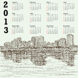 Hand-drawn cityscape 2013 calendar. 2013 calendar with hand-drawn illustration of manila bay philippines cityscape Stock Photo