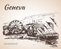Hand drawn cityscape Geneva, Switzerland. Stock Photography
