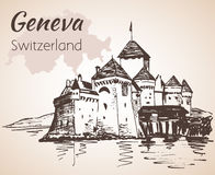 Hand drawn cityscape Geneva, Switzerland. Royalty Free Stock Image