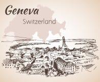 Hand drawn cityscape Geneva, Switzerland. Royalty Free Stock Photos