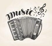 Hand drawn classic accordion. Vintage musical instrument. Music symbol, vector illustration Stock Photos
