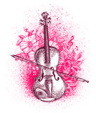 Hand drawn classical violin and bow. Musical instrument. Vector illustration Royalty Free Stock Photography
