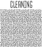 Hand drawn cleaning tools seamless pattern Royalty Free Stock Image