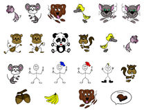 Cartoon Stick Animals and Characters Hand Drawn. Hand drawn clipart of cartoon stick animals and characters, a pork chop, some nuts, and a bunch of bananas Stock Photos