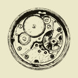 Hand drawn clock mechanism, back side of watch Royalty Free Stock Photo