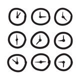 Hand drawn clock vector icons set illustration Stock Images
