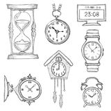 Hand drawn clocks set Stock Photos