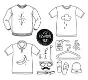 Hand drawn clothing set. Blank t-shirt, polo Stock Images
