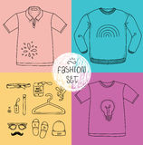 Hand drawn clothing set. Blank t-shirt, polo Stock Photos