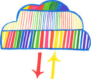 Hand-drawn cloud computing icon Royalty Free Stock Images