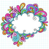 Hand-Drawn Cloud Notebook Doodle Frame. With Rainbow Colored Flowers and Swirls. Back to School style Vector Illustration. Design Elements on Lined Paper Royalty Free Stock Photography