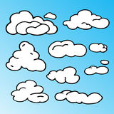 Hand Drawn Cloud Set. Silhouette Vector Illustration . Isolated On White Background. Royalty Free Stock Images