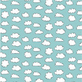Hand Drawn Clouds Pattern. Royalty Free Stock Photo