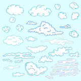 Hand drawn clouds vector illustration