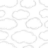 Hand drawn clouds on squared paper. Vector illustration Royalty Free Stock Photo