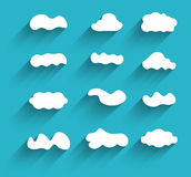 Hand-drawn cloudscapes collection. Long shadows Royalty Free Stock Image