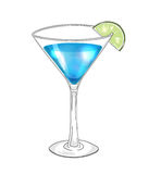 Hand drawn cocktail in martini glass with lime Stock Photo