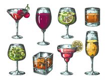 Hand drawn cocktails. Colored glasses with alcoholic beverages and lemonades, tropical bar drinks. Vector isolated. Sketch fresh drink set stock illustration