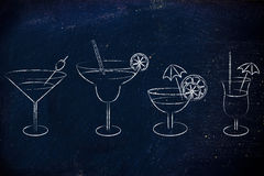 Hand drawn cocktails and drink glasses Stock Images
