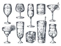 Hand drawn cocktails. Glasses with alcoholic drinks tonic and lemonade, martini gin rum and tropical beverages. Vector. Vintage isolated sketch drinking retro royalty free illustration