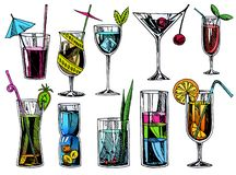 Free Hand Drawn Cocktails. Vintage Glasses With Liquors And Alcoholic Drinks, Summer Drinks Sketch Menu. Vector Tropical Royalty Free Stock Photography - 152060177