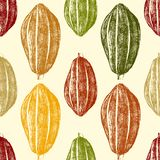 Hand drawn cocoa beans seamless Royalty Free Stock Photography