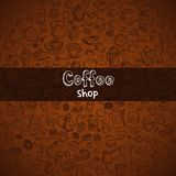 Hand drawn coffee background. Background with hand drawn coffee and confectionery, vector Royalty Free Stock Photography