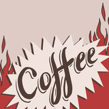 Hand drawn coffee background with flame Stock Images
