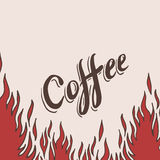 Hand drawn coffee background with flame Royalty Free Stock Images