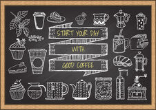 Hand drawn coffee and bakery on chalkboard Royalty Free Stock Photos