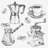 Hand drawn coffee collection. Cup, coffee maker, coffee grain, coffee grinder vector illustration