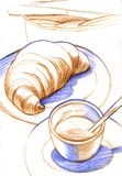 Hand drawn coffee cup. Sketched hot tea drink. Color pencil Stock Photo