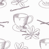 Hand drawn coffee cup with vanilla seamless pattern. Outline background Royalty Free Stock Photos