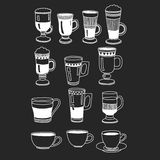 Hand drawn coffee cups on black background Royalty Free Stock Photo