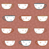 Hand drawn Coffee Cups Illustration. Seamless vector pattern. Mo Stock Photo