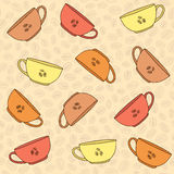 Hand drawn Coffee Cups Illustration. Seamless vector pattern. Mo Stock Image
