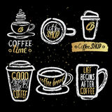 Hand drawn coffee cups with lettering Royalty Free Stock Photos