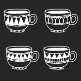Hand drawn coffee cups Stock Images