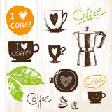Hand drawn coffee cups set. Vector icons collection. Vintage. Menu Stock Images