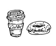 Hand drawn coffee and donut doodle. Sketch food and drink, icon. Decoration element. Isolated on white background. Vector illustration stock illustration