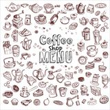 Hand drawn coffee elements set. Hand drawn coffee and confectionery elements, vector illustration Stock Photo