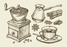 Hand drawn coffee grinder, cup, beans, star anise, cinnamon, chocolate, cezve, drink. Sketch vector illustration. Hand-drawn coffee grinder, cup, beans, star Royalty Free Stock Photo