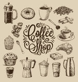 Hand Drawn Coffee Illustrations Stock Photo