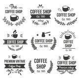 Hand Drawn Coffee Label Set. With the coffee shop premium vintage est 1986 descriptions vector illustration royalty free illustration