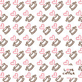 Hand drawn coffee logo pattern Stock Photography