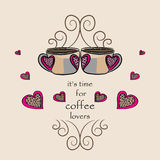 Coffee for lovers, Vector illustration of two coffees with hearts. Hand drawn coffee for lovers, Vector illustration of two coffees with hearts. It`s time for stock illustration