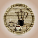 Hand drawn of coffee maker and two cups of coffee on round wooden banner. vector illustration Royalty Free Stock Photo