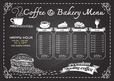 Hand drawn coffee menu on chalkboard. Royalty Free Stock Photos